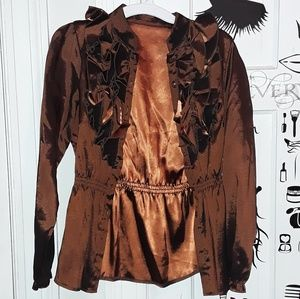 Dark Shiny Earth Brown Soft Blouse with Ruffles